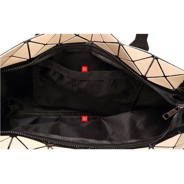 Mode géométrique Tote brillant Pu Sac bandoulière en cuir Sacs à main Top-manche KXAMO