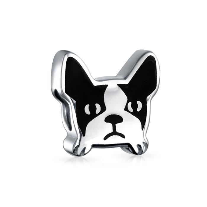 Bling Jewelry Argent 925Enamel Frenchie Chien Bead Charm