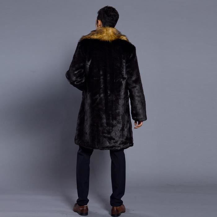 Col Fourrure Hommes Cardigan Fausse Veste Marron Parka Épais Mode Chaud Manteau De Manteaux En qYFa5