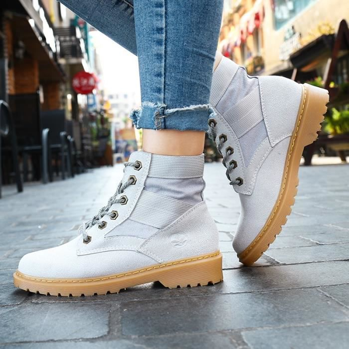 Botte Femme femmes Tendance Fashion High Top Roung Toes Skater Martinblanc taille35