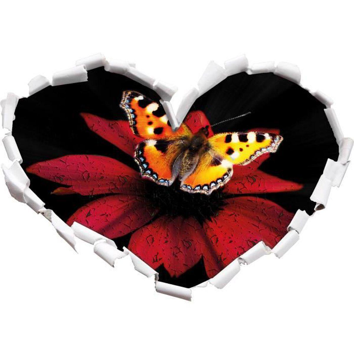 Sombre Beau Papillon Sur Le Noir En Forme De Coeur De Fleur Rouge