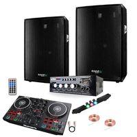 PACK SONO 600 + AMPLI + ENCEINTE + CONTROLEUR DJ PARTY MIX NUMARK PA DJ SONO LED LIGHT CLUB BAR SOIRÉE FAMILIALE SPORT KARAOKÉ