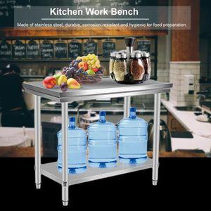 PLAN DE TRAVAIL Table de Travail Cuisine inox 80x50x85cm deux couc