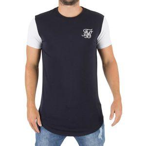 4bfe5d66833 Sik Silk Homme T-shirt courbé pour logo Hem