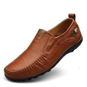 Hommes souple en cuir respirant Trim Flat Conduite Casual Slip sur les chaussures marron ASD667 WpzJH5C