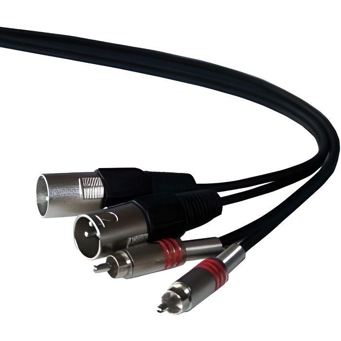 IBIZA SOUND CM5RX-2 Câble 2 RCA mâles métal avec ressort de protection vers 2 XLR mâle - 5m