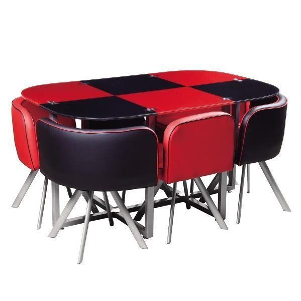 Ensemble salle à manger table et 6 chaises en damier noir et rouge ...