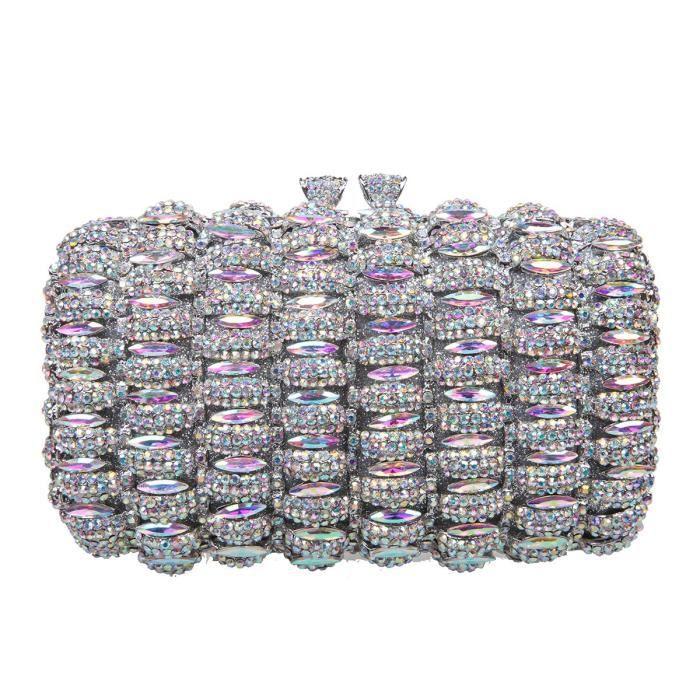 Baiser de verrouillage cloutés embrayage avec strass cristal sac de soirée ZYFT7