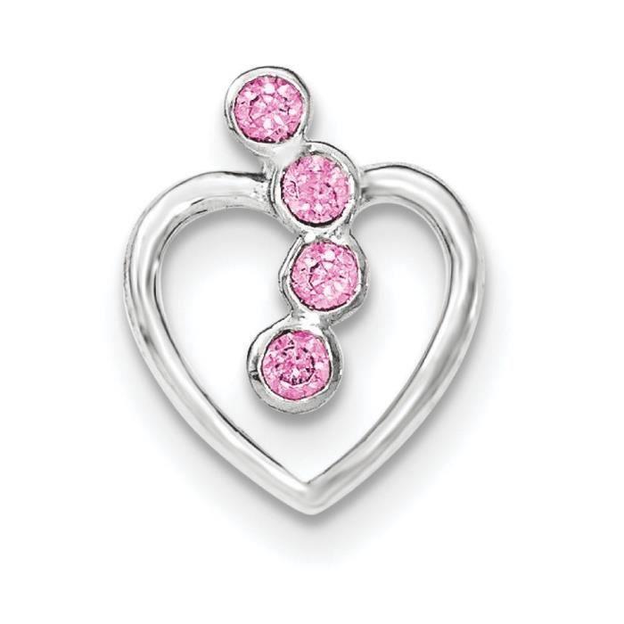 Argent Sterling CZ pendentif en forme de cœur Rose