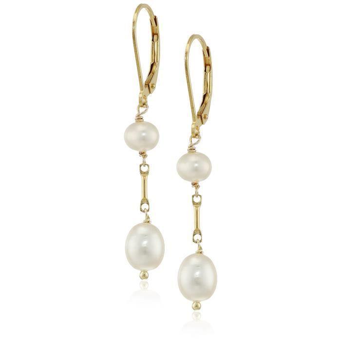 Jewel Panda Plaqué Or Argent Blanc Boucles doreilles de perles de culture deau douce