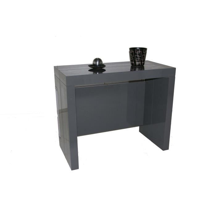 Table Console Extensible A Allonges Integrees Milano Laque Gris