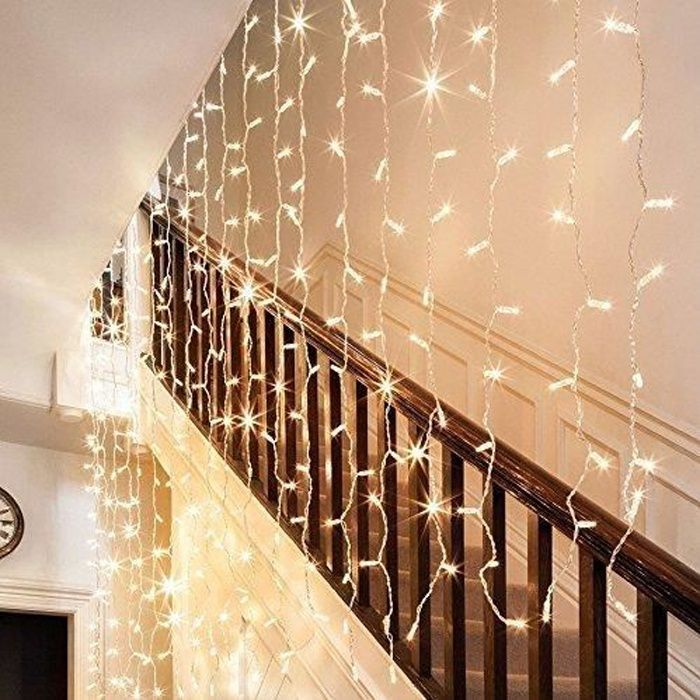 guirlande rideau de lumi re 300 leds 3m x 3m f riques lumineux led 8 modes d co pour soir e de. Black Bedroom Furniture Sets. Home Design Ideas