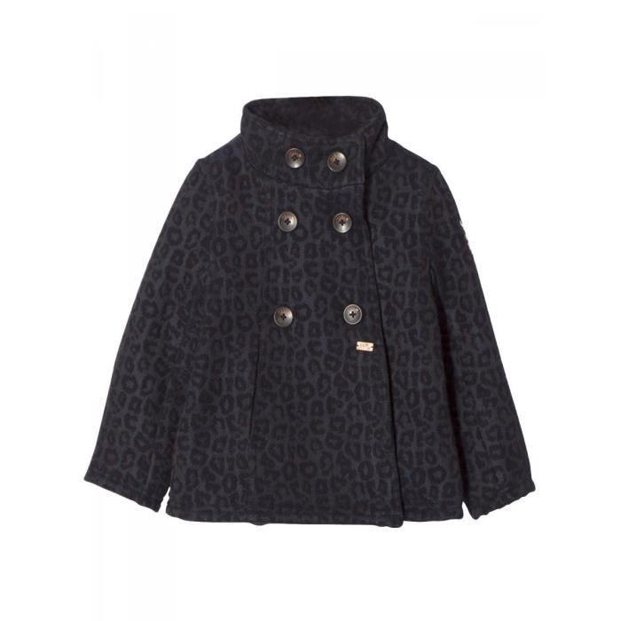 sélection premium dcbd4 a5741 IKKS - Caban en laine et polyester bleu navy fille Ikks Bleu ...