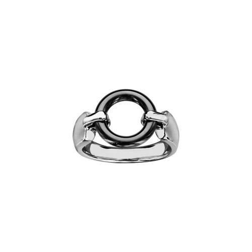 Bague acier anneau céramique noire - tour de doigt