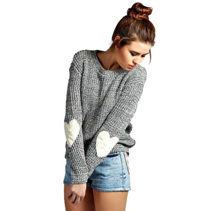 pull over chandail en laine femme la mode orn d 39 un c ur sur le coude de couleur gris gris. Black Bedroom Furniture Sets. Home Design Ideas