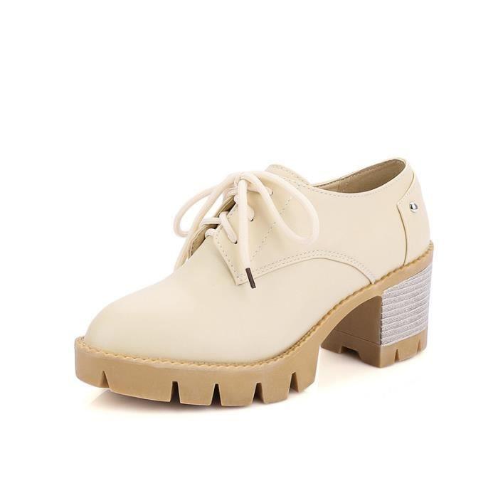 Chaussures Femme élégante Lacets Plateforme En PU Cuir Toutes les pointures de la 35 à la 43 CAqF9SE5F