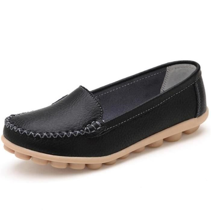 Mocassin Femmes ete Loafer Respirant Chaussures BJYG-XZ055Noir35 MIlttDvw