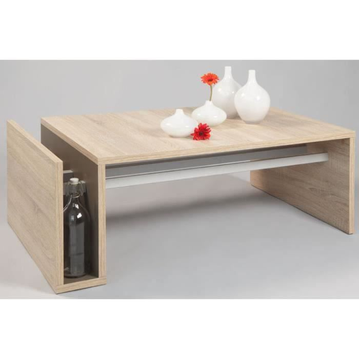TABLE BASSE JARDIN  Table basse WILLY, coloris Sonoma chene clair, 110