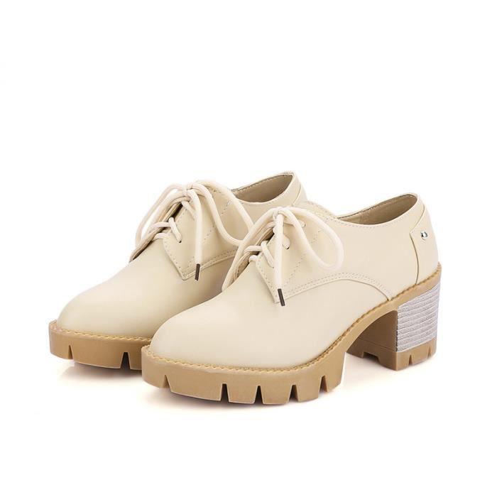 Chaussures Femme élégante Lacets Plateforme En PU Cuir Toutes les pointures de la 35 à la 43 wy2pLN4rJ