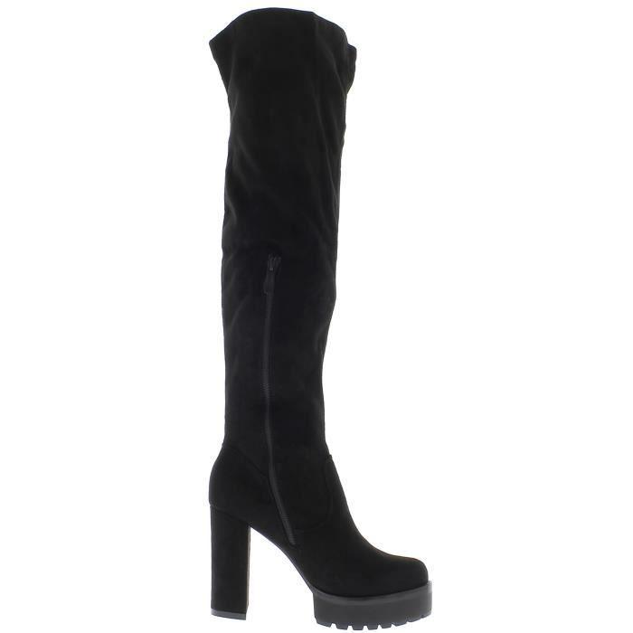 Cuissardes femme moulantes noires à talon épais de 11 cm look daim avec plateforme - Couleur:Noir Pointure: