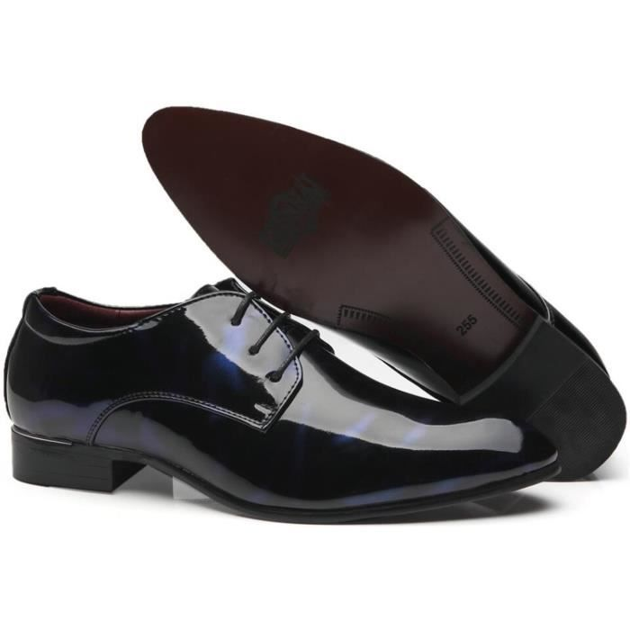 Chaussures en cuir verni Wingtip Chaussures lacée Robe Tuxedo Floral Derby Chaussures SIB09 Taille-46 1-2