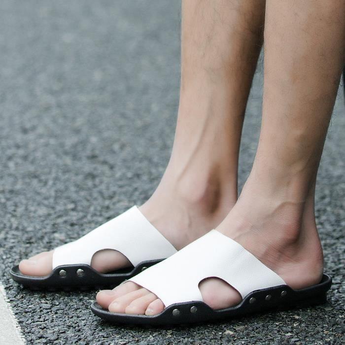 Flip Flops Plat Sandales D'été Casual Chaussures Respirant Hommes Blanc Slipper Accueil Plage R0zq8S