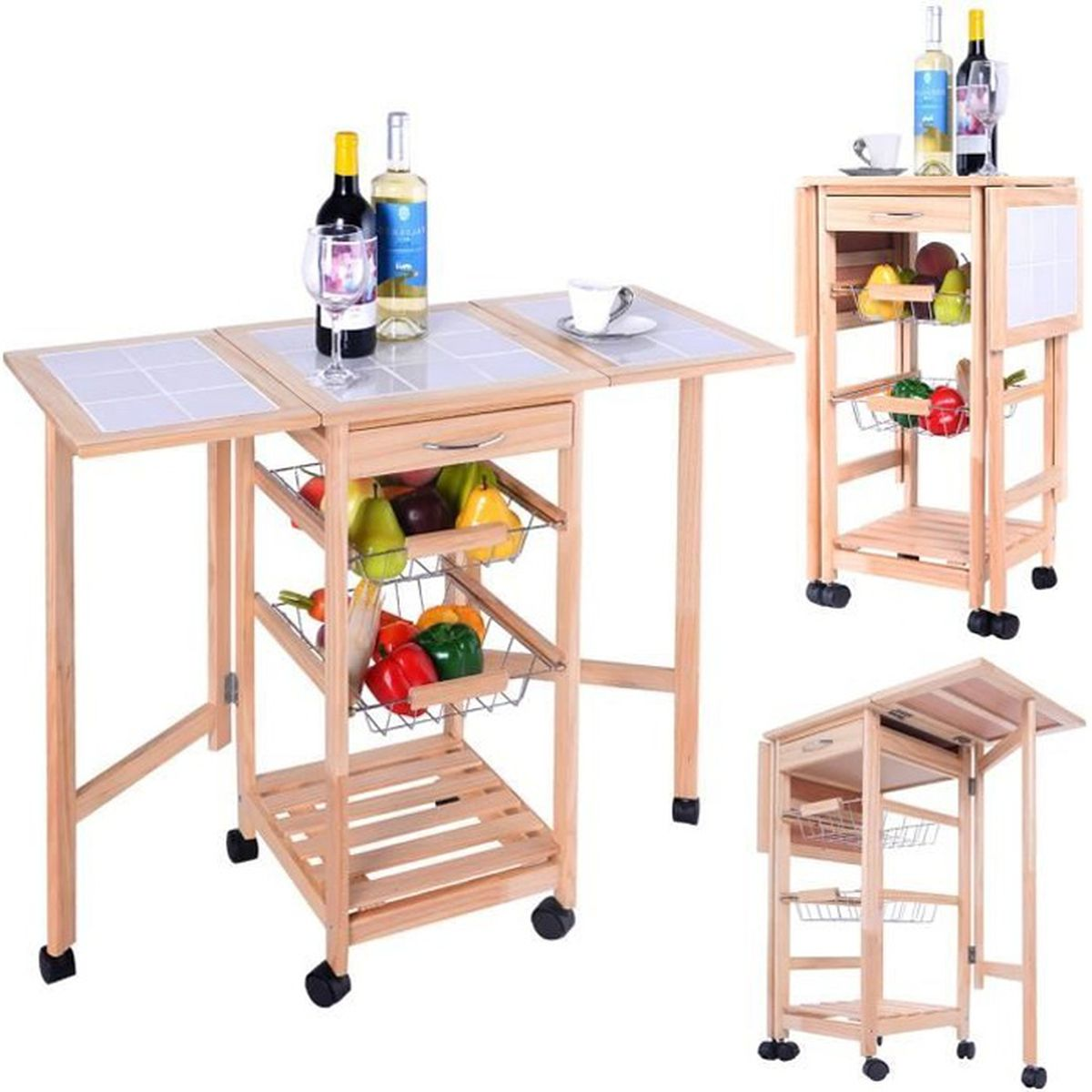 chariot de cuisine bois desserte de cuisine roulettes meuble de rangement achat vente. Black Bedroom Furniture Sets. Home Design Ideas