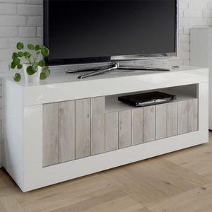 MEUBLE TV Meuble TV 3 portes Blanc/Pin blanc - LUBIO - L 138
