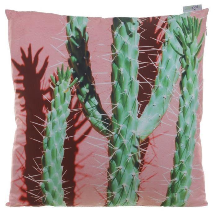 Coussin Cactus sur Fond Rose - 50x50cm