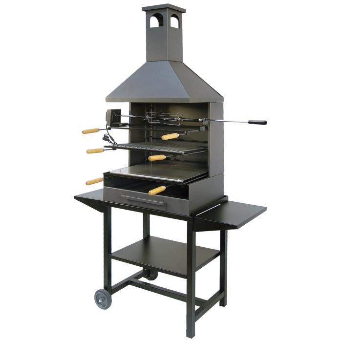 ez71562 barbecue grilloir sur chariot avec cheminee achat vente barbecue ez71562 barbecue. Black Bedroom Furniture Sets. Home Design Ideas