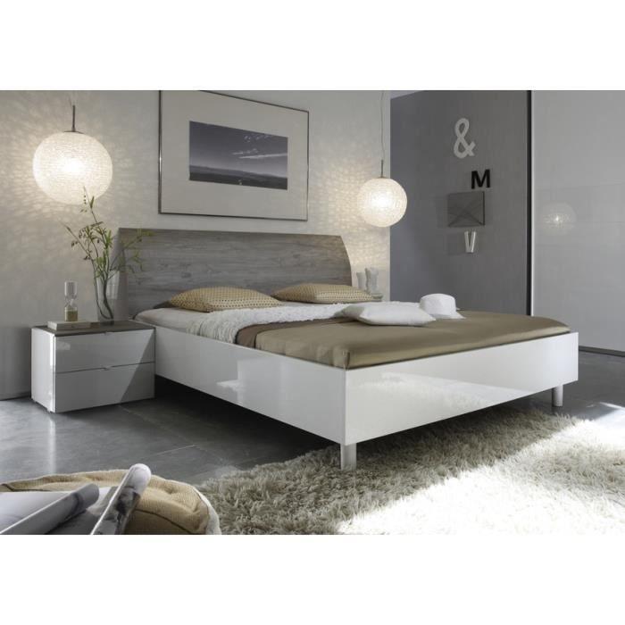 lit laqu blanc et t te de lit grise tamara 160x200 achat vente structure de lit lit laqu. Black Bedroom Furniture Sets. Home Design Ideas
