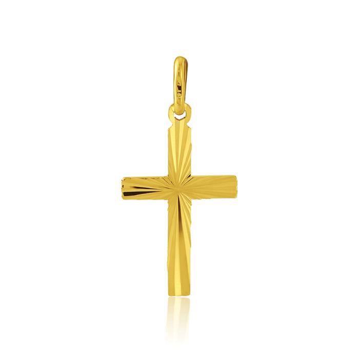 Jewelco London 9ct Yellow Gold - Diamond Cut Cross Pendant