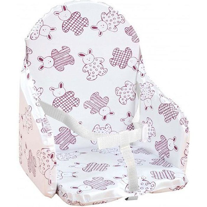CHAISE HAUTE  Looping Coussin Chaise Haute Sangles Lapin Cassis