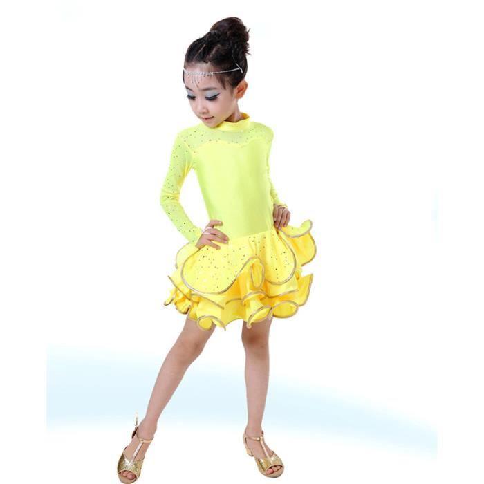53b664fb2e5d5 Jaune 120cm Enfant danse latino robes à bas prix costume pour les enfants  salle de bal robe latine salsa dancewear samba latin