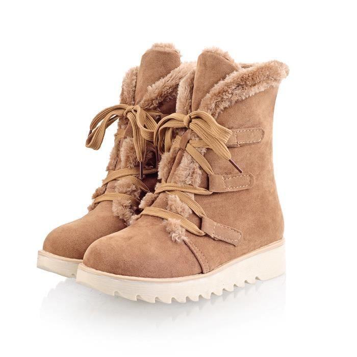 HUIXIN®bottes d'hiver chaud des chaussures plates plate - forme une épaisse fourrure