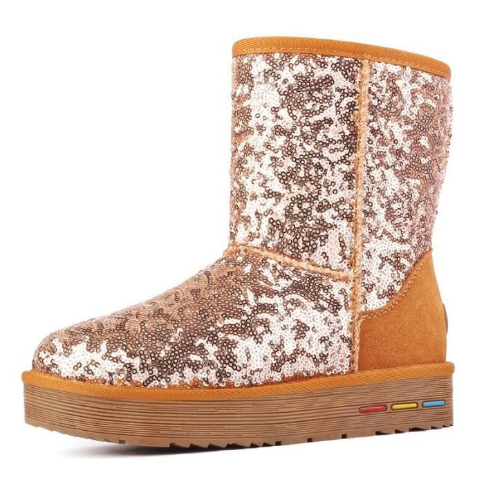 Marron Bottes de neige bottine femme antidérapage avec Paillette chaud Chaussures d'hiver talons plats Grande Taille Nouveauté 35-40 ifiwKym