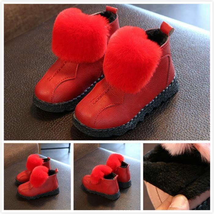 Bottes Printemps hiver nouvelle fille bottes de coton enfants Chaussures de loisir Chaussures fourrées Chaussures princesse