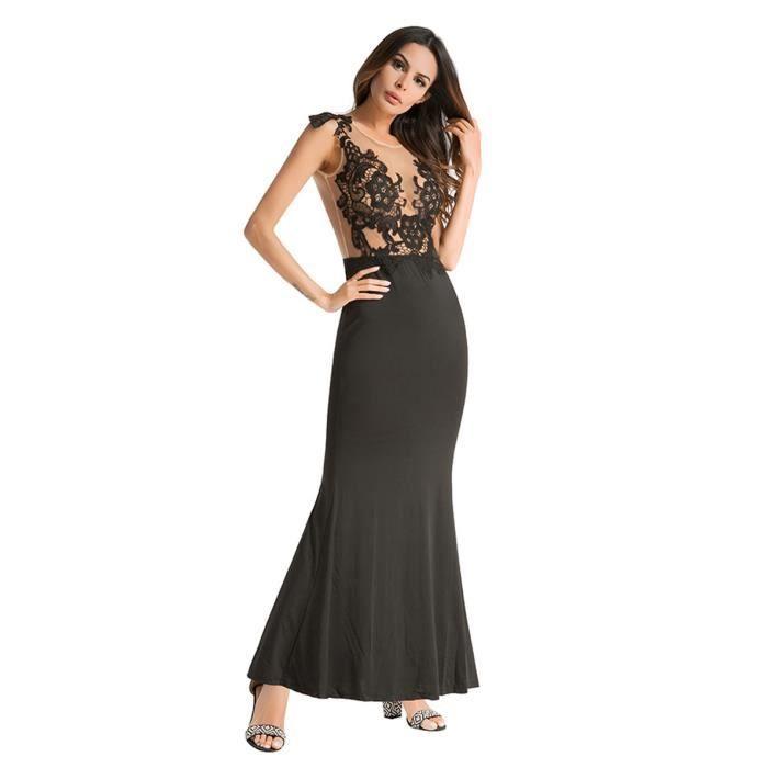WoWa® Elegante Robe de Soirée Robe de Ceremonie pour Femme en Dentelle Sans Manches - Noir