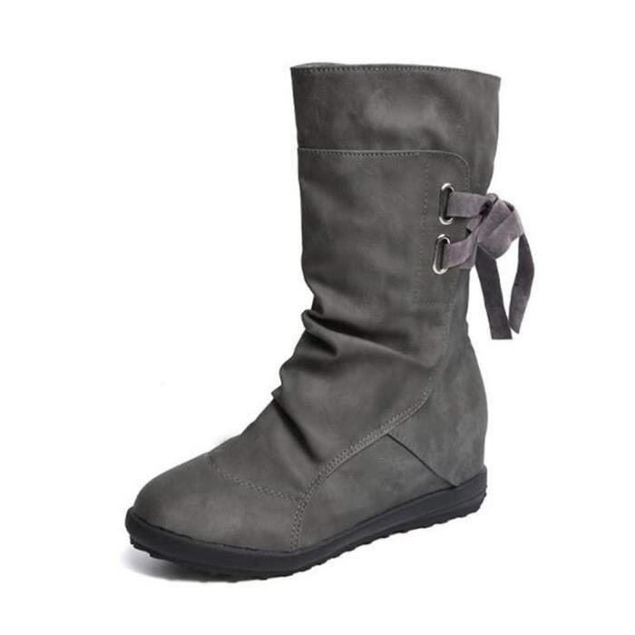 5d4117fd5aeba Bottes Haute Femme Plate Compensées Talon Bottines Cuir Boots Casual ...