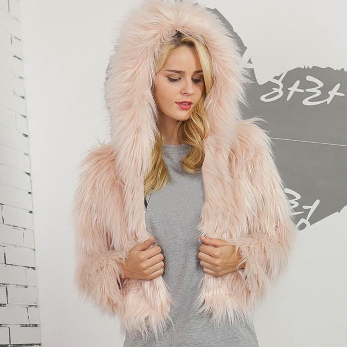 c876c94f0a18 Femmes Mesdames chaud en fausse fourrure veste de manteau d hiver solide  Parka à capuche Manteaux BJ5227