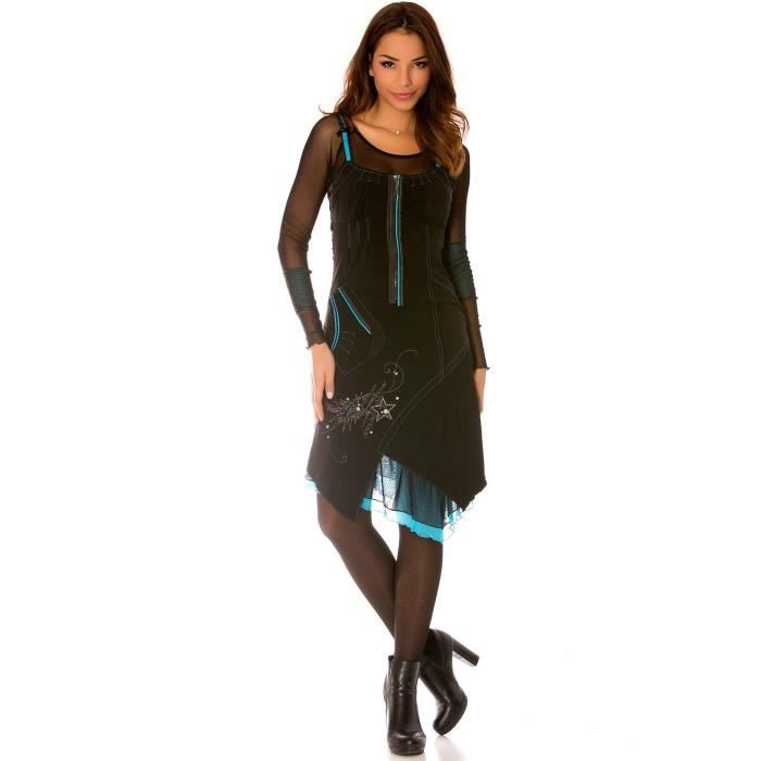 Miss Wear Line - Robe noir à manches longues en tulle avec broderie ... e9fae4d043f
