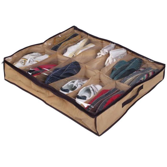 boite rangement sous lit achat vente boite rangement sous lit pas cher soldes d s le 10. Black Bedroom Furniture Sets. Home Design Ideas