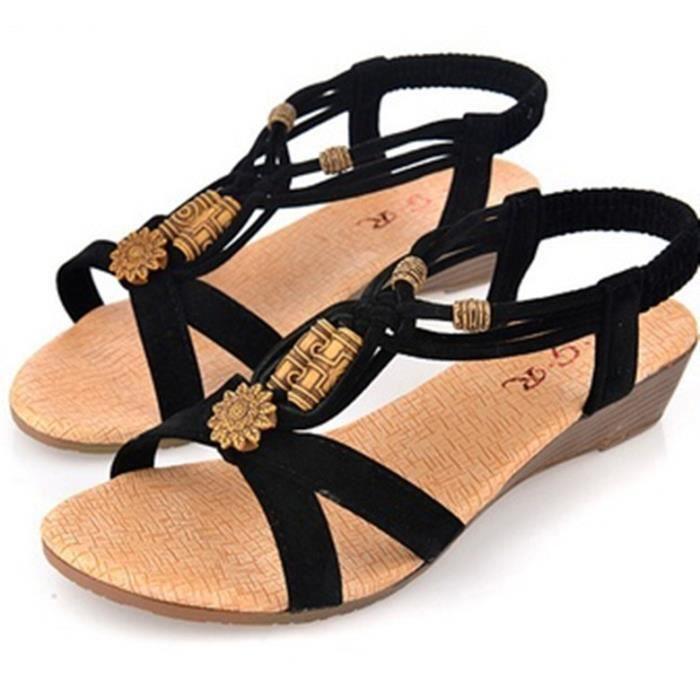 Sandales femme plat été mode Perlé