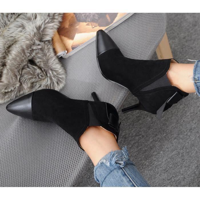 Oaleen Bottines fourrées femme bout pointu nœud suède talon aiguille chaussures boots hiver noir 37