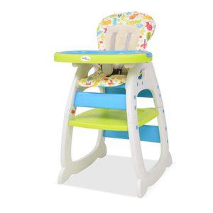 CHAISE HAUTE  Chaise haute de bébé convertible 3-en-1 bleu et ve