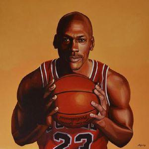 AFFICHE - POSTER Affiche peinture Michael Jordan ballon de basket (