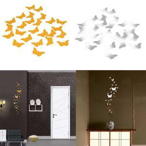 stickers 36 pcs vinyle 3d amovible miroir dcoratif papillo