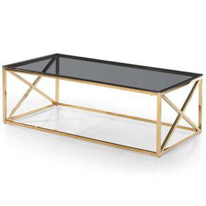 TABLE BASSE Table basse Sydney en Verre Fumé et pieds Or