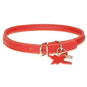 COLLIER Dogline Collier en cuir pour chien Rouge Taille XS