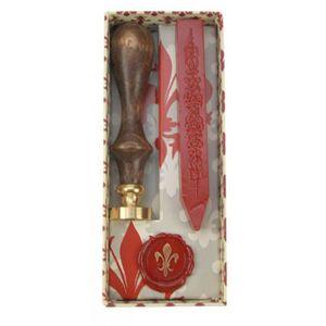 Cire - sceau à cacheter Coffret sceau cachet fleur de lys avec cire  13x5,
